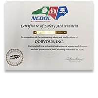 Qorvo Greensboro – Gold Award from the North Carolina Department of Labor for Safety Achievement in 2018