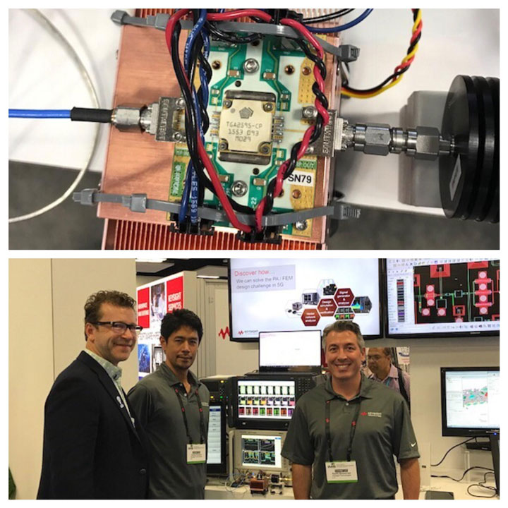 Qorvo's PA/FEM test module at the Keysight Technologies booth at IMS 2017