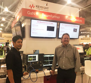 5G beamforming test demo with Keysight Technologies and Qorvo's QPF4006, one of the industry's first GaN FEMs for 39 GHz phased array 5G base stations