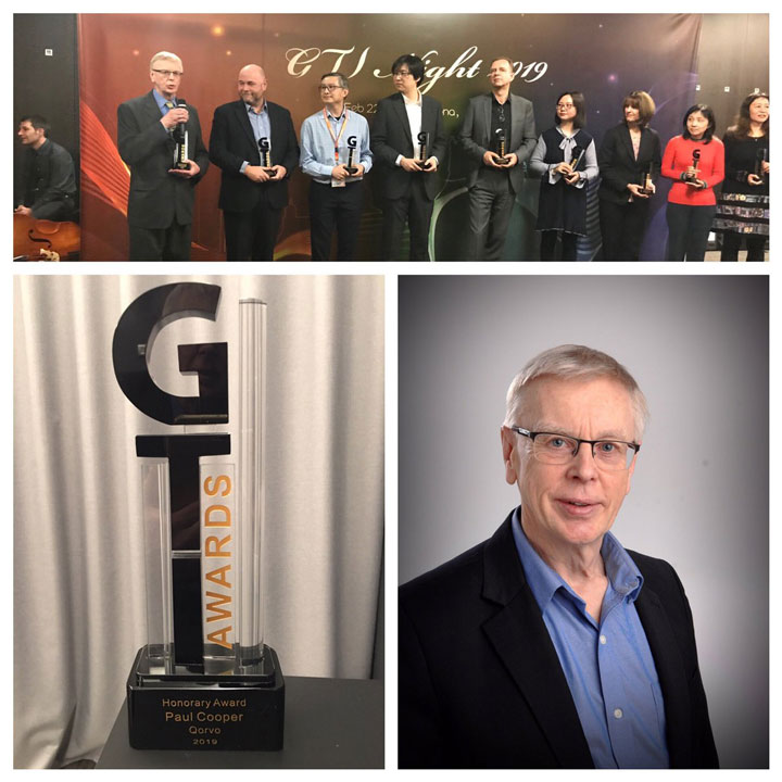 Qorvo's Paul Cooper and a cross-company collaborative team accept a GTI Honorary Award at MWC19