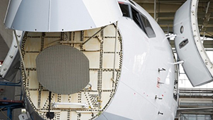 Radar in the nose of a plane