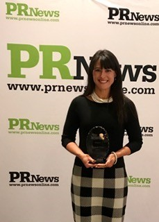 Brandi Frye, Qorvo VP of Marketing, with her PR News 'Top Women of PR' Award